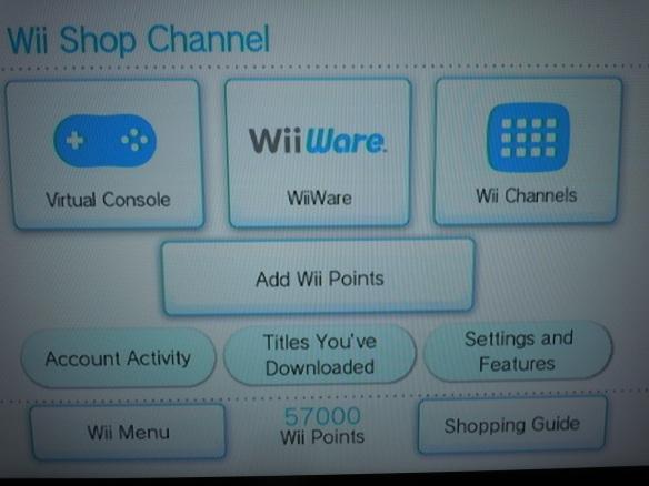 Wii points balance